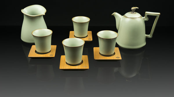 ".Anta Pottery. Emerald ""Peaceful Mind"" Luxurious Tea Set"