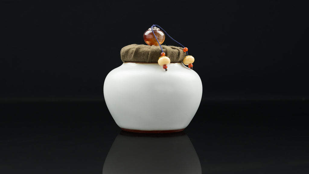 Taiwan Sourcing Ru Yao Glaze Storage Container for Tea - Pearl White with Fancy Cloth Lid