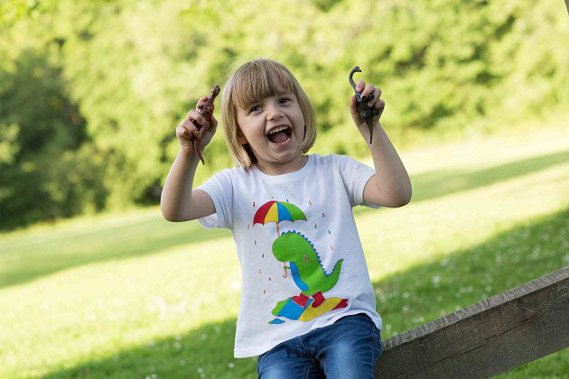 Climbing Trees Girl Cute Dinosaur Roar