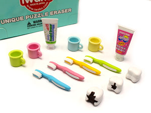 Iwako Assorted Eraser Toothbrush, Toothpaste & Teeth Set
