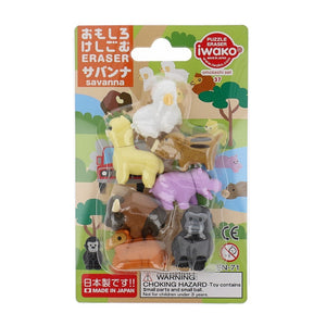 Iwako Blister Eraser Animals in Savanna