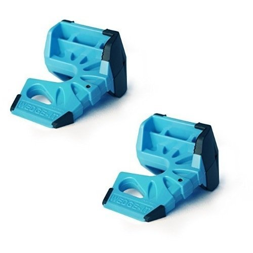 Wedge-It 3-in-1 Ultimate Door Stop Heavy Duty Lexan Plastic Rubber Shim - Blue x 2