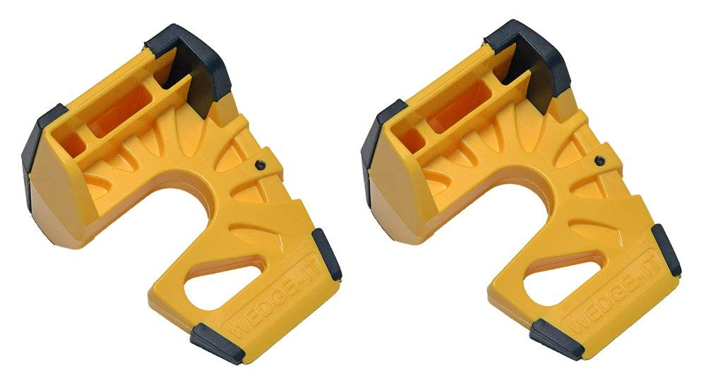 Wedge-It 3-in-1 Ultimate Door Stop Heavy Duty Lexan Plastic Rubber Shim - Bright Yellow x 2
