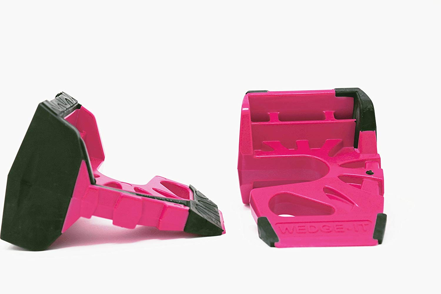Wedge-It 3-in-1 Ultimate Door Stop Heavy Duty Lexan Plastic Rubber Shim - Pink x 2