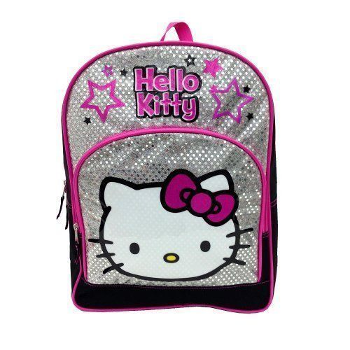 "Hello Kitty Backpack 16"" Inch Backpack Pink Silver Glitter"