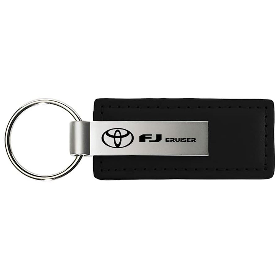 Au-Tomotive Gold, INC. Toyota FJ Cruiser Black Leather Key Chain Genuine Licensed Product