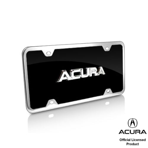 Au-Tomotive Gold, Acura 3D Chrome/Black Acrylic License Plate with Chrome Frame Kit