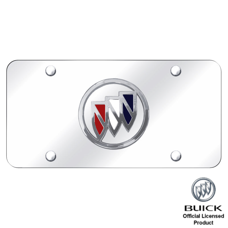 Au-Tomotive Gold Buick Tri-Color Fill Chrome Logo on Mirrored Plate