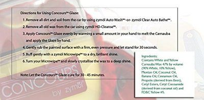 Zymol Concours Glaze 8 oz Handcrafted Deep Gloss with Microfiber Cloth