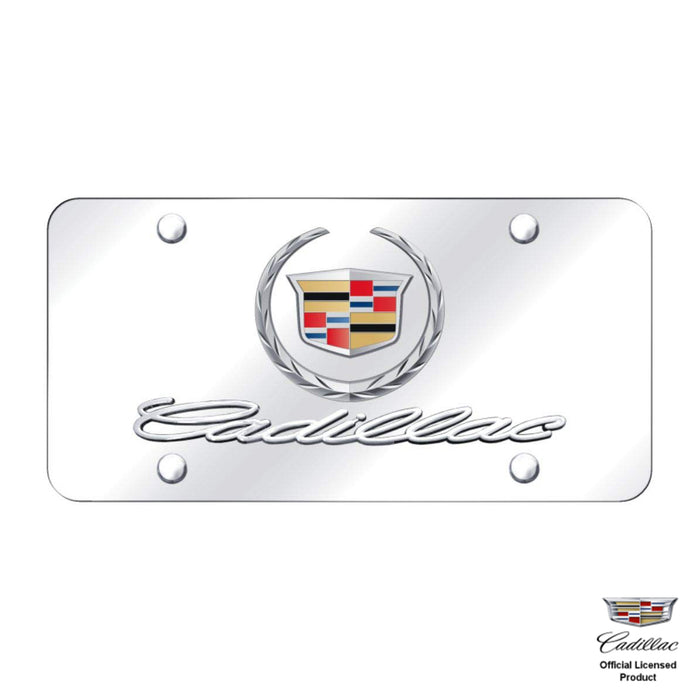 Au-Tomotive Gold Chrome Wreath Cadillac License Plate Frame Stainless Mirror Steel 3D