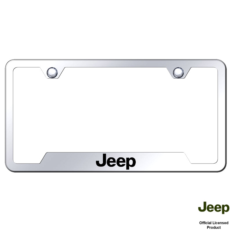 Au-Tomotive Gold Laser Etched Mirrored Jeep Cut-Out Frame