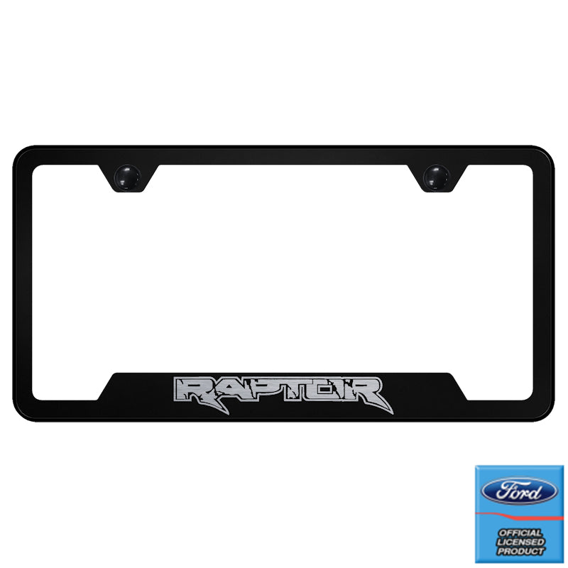 Au-Tomotive Gold Ford Raptor Black Stainless Steel License Plate Frame