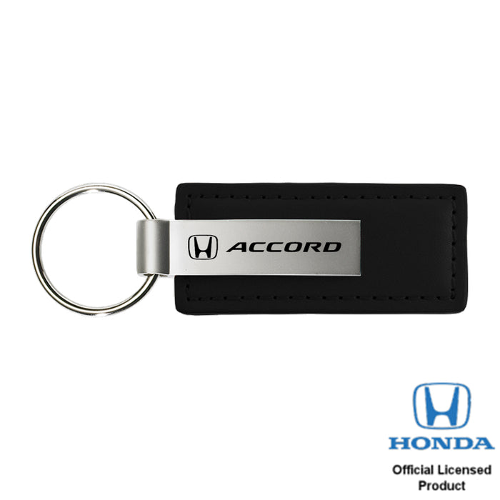 Au-Tomotive Gold Accord Black Leather Key Chain, Official Licensed Product