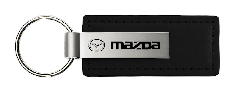 Au-Tomotive Gold Mazda Black Leather Key Chain