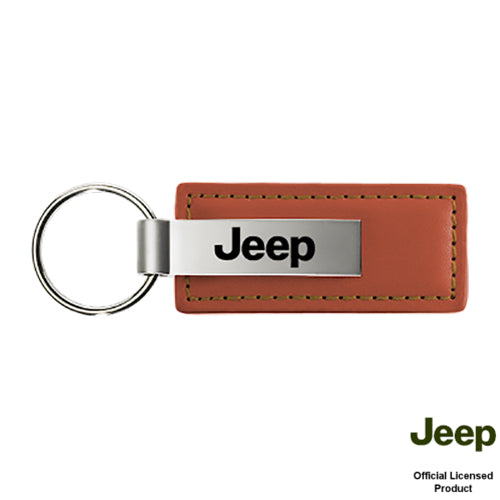 Au-Tomotive Gold Jeep Brown Leather Keychain