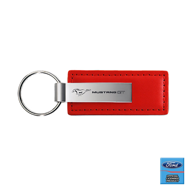 Au-Tomotive Gold Mustang GT Red Leather Key Chain *Authorized Seller*