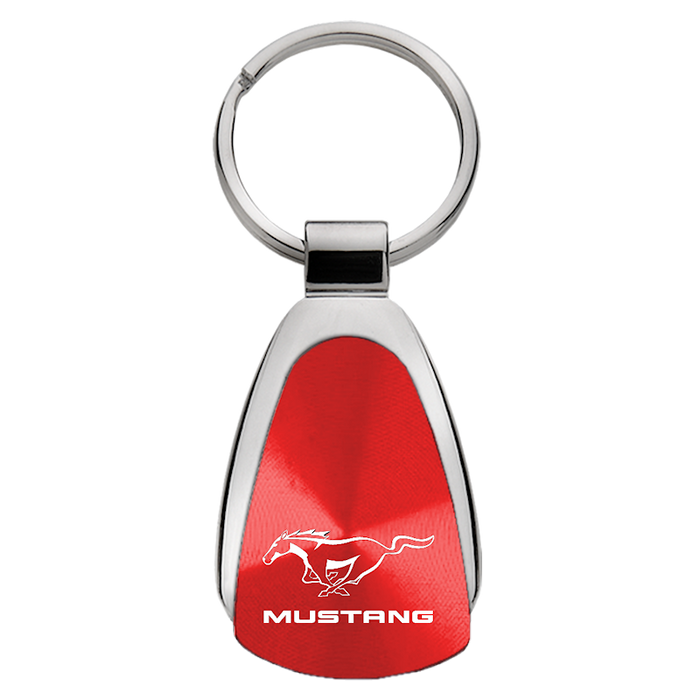 Au-Tomotive Gold Mustang Red Teardrop Key Chain