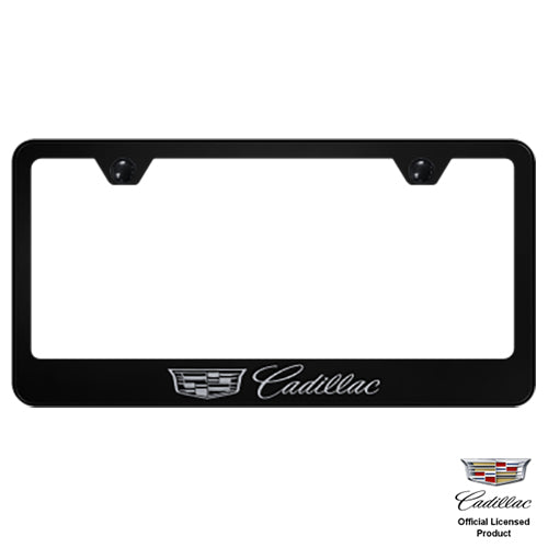 Au-tomotive Gold Cadillac Black Stainless Steel License Plate Frame