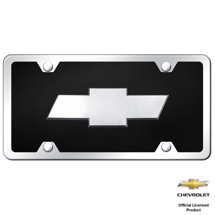 Au-Tomotive Gold Chevrolet 3D Black Acrylic License Plate Chrome Frame Kit