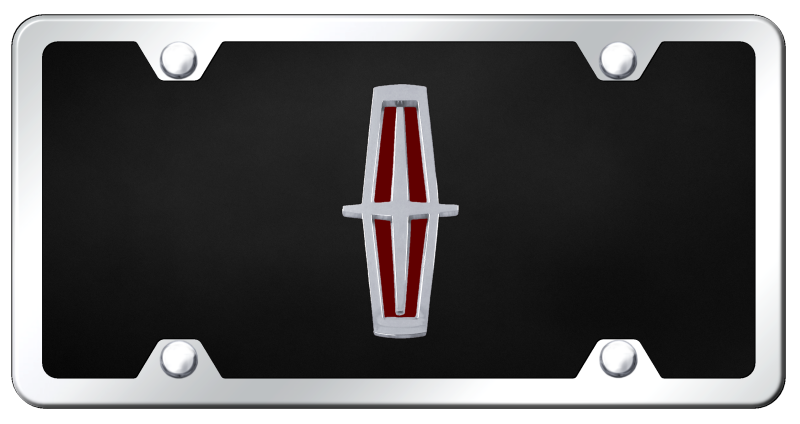 Au-Tomotive Gold Lincoln Chrome/Red Logo on Black Acrylic Plate Kit