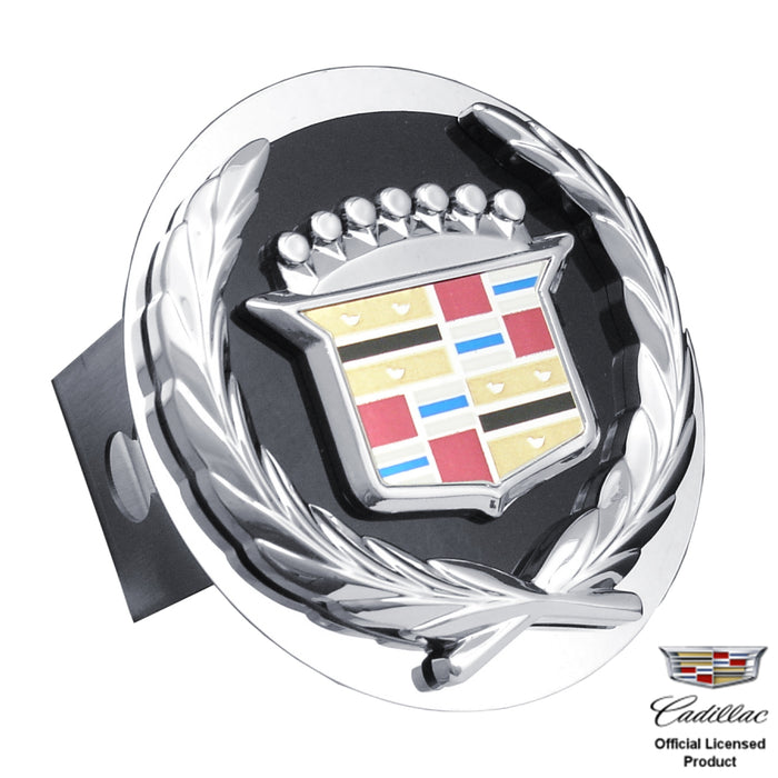 Au-Tomotive Gold 3D Black Infill Steel Tow Hitch Cover Plug for Cadillac Classic