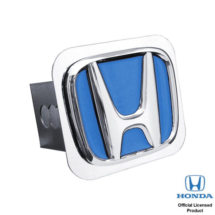 Au-Tomotive Gold Honda 'Blue Fill' Chrome Trailer Hitch Plug