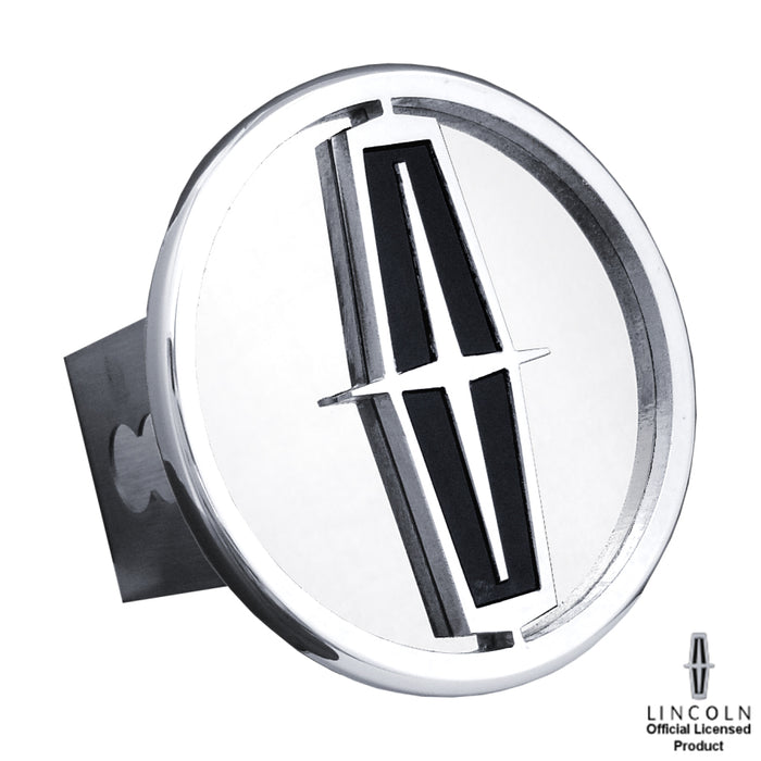 Au-Tomotive Gold Lincoln Chrome/Black Logo on Chrome Trailer Hitch Plug