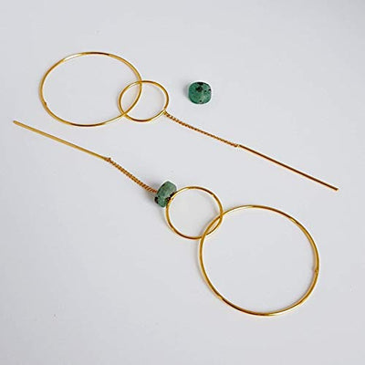 Two Circles Earrings. Handmade Yellow Gold Plated Drop Earrings. Raw Colombian Emerald and Opal Earrings by D'Mundo Accesorios. Genuine Raw Colombian Emeralds with Calcite and Pyrite.