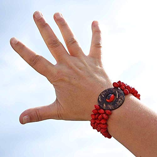 Bright Red Stretchy Bracelet made of Coconut and Natural Seeds