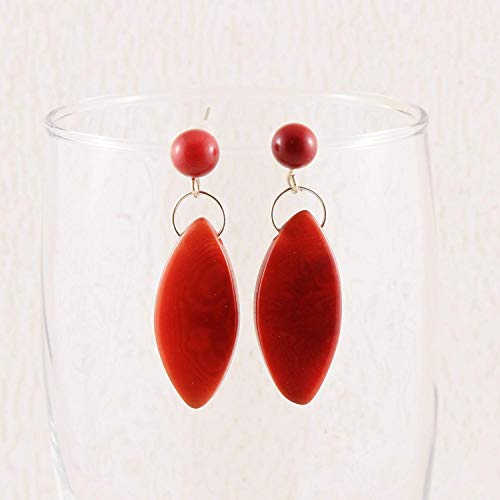 Red Drop Tagua Nut Earrings