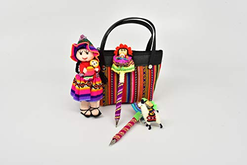 Sanyork Fair Trade Peruvian Doll, Llama Keychain, Worry Doll Pens and Andean Fabric Purse Set Pack Lot Peru Artisan Crafts