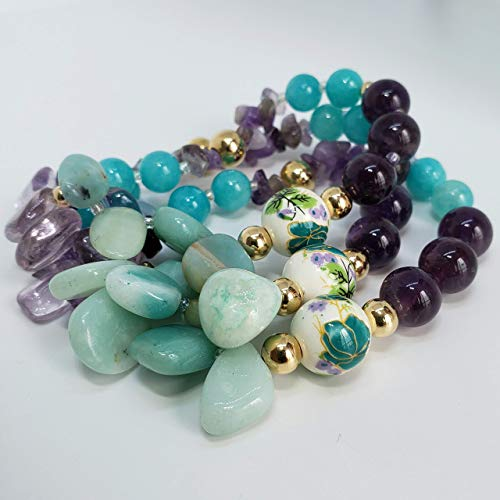 "Amethyst and Amazonite Bracelet. 7.4"" Handmade genuine gemstone bracelet by D'Mundo Accessorios. Balance, Harmony, Calm and Peace Bracelet."