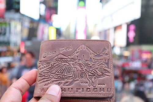 Handmade Ethnic Imprinted Leather Wallet with Peruvian Designs plus ID and coin holder 2 in 1 - NY1