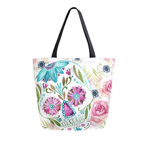 ALAZA Watercolor Mexican Sugar Skull Flowers Day of the Dead Large Canvas Tote Bag for Women Girls