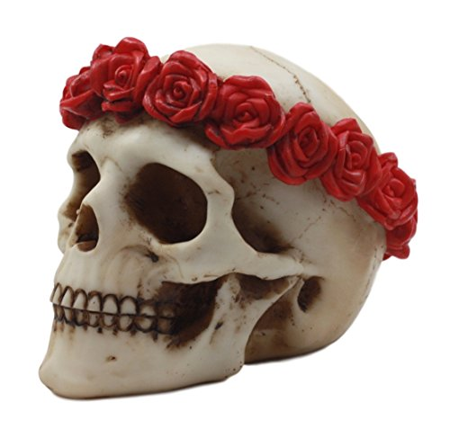 Sugar Skull with Red Roses Laurel