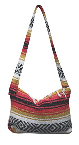 Del Mex Mexican Falsa Blanket Purse Messenger Tote Bag with Fringe (Pink/Gold)