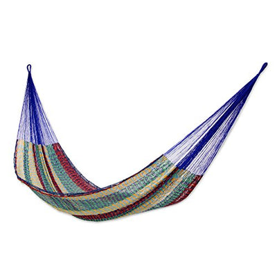 NOVICA Cotton Orange and Blue Rope Hammock 'Colors of Mexico' (double)