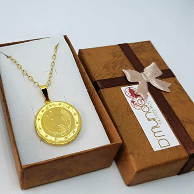 Euro Coin Vintage Necklace by D'Mundo Accesorios. 1 Euro from Germany. Bundesadler Coin Pendant. Gold Plated Medallion Handmade Necklace.