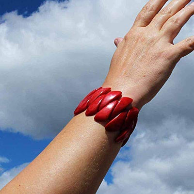 Bold Red Tagua Nut Stretchy Bracelet