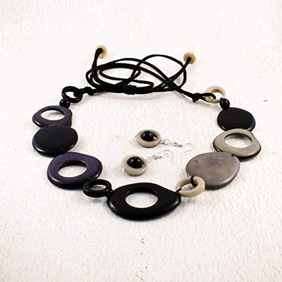 Black and Gray Statement Necklace made of Tagua Nut