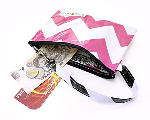 Womans Zip Jalisco Wristlet Clutch Pink Chevron