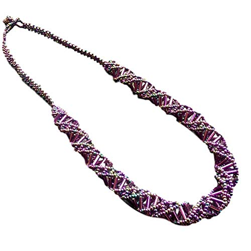Maya Geometry Beaded Spiral Necklace - Purple
