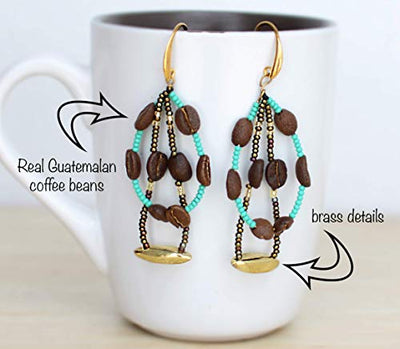 Handmade Artisan Coffee Bean Bracelet and Earrings