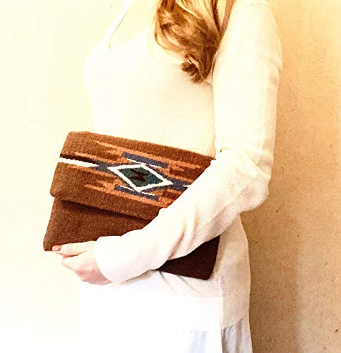 Red Casita Brown Boho Clutch, Aztec Clutch, Southwestern Purse