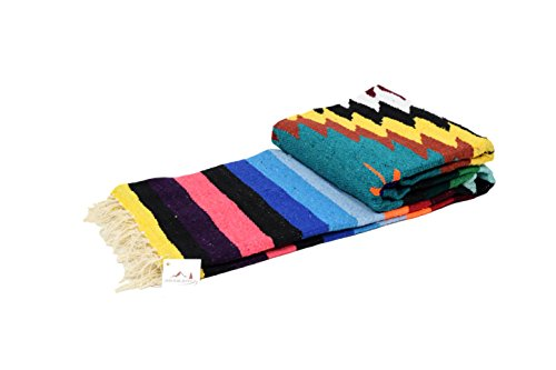 Mexican Yoga Blanket, Navajo Aztec Diamond XL Thick Serape with Stripes-Turquoise