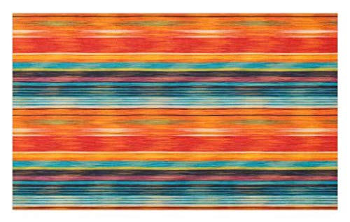 "Lunarable Mexican Doormat, Abstract Vibrant Vintage Aztec Motif Gradient Blurred Lines Ecuador Crafts Image, Decorative Polyester Floor Mat with Non-Skid Backing, 30"" X 18"", Orange"