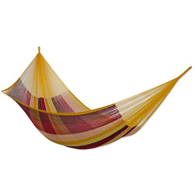 NOVICA Mexican Cotton Double Hammock, Double, Tropical Paradise
