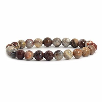 "Natural Mexican Lace Agate Gemstone 8mm Round Beads Stretch Bracelet 7"" Unisex"