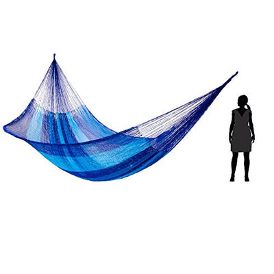 NOVICA Multicolor Hand Woven 2 Person Striped Mayan Hammock , 'Blue Caribbean' (Double)
