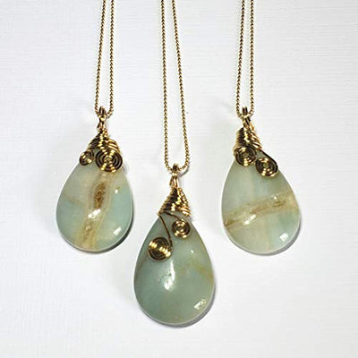 Brazilian Amazonite Stone Pendant. 14Kt Gold Filled Chain with Amazonite pendant. Wire Wrapped Pendant. Soothing Necklace.